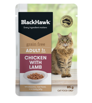 bhc501 black hawk grain free adult wet cat chicken with lamb 85g 600x961px