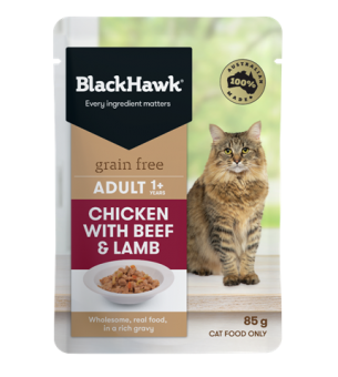 bhc504 black hawk grain free adult wet cat chicken with beef and lamb 85g 600x961px